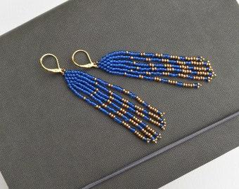 Fringe Earrings, Long Bright Blue & Gold Beaded Earrings, Statement Earrings