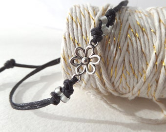 Silver Daisy Friendship Bracelet, Beaded Simple Cotton Cord Casual, Gift under ten 10 pounds, Best friend gift