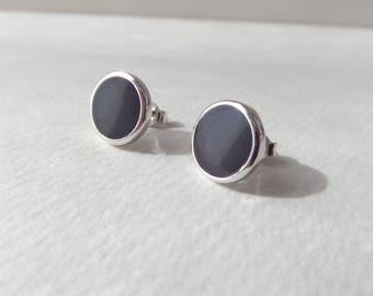 Rhodium Plated Silver Studs, Chic Glassy Shiny Post Earrings, Blackcurrant Deep Purple, 10mm Round, None Tarnish Modern