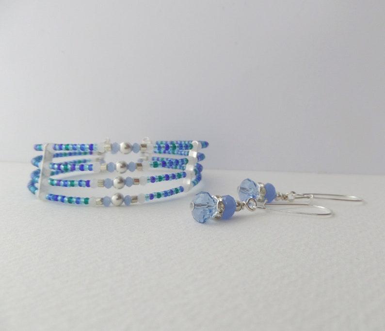 Dainty Beaded Silver Cuff Bracelet Minimalist Memory Aqua Teal Blue Opal Crystal Seed Bead Unique Colours