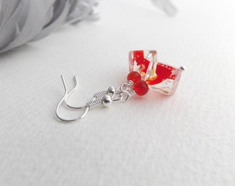 Tomato Red Earrings, Clear Glass, Red Cube beaded dangle drop earrings, Red and Silver, Arty, Modern, Bold, Quirky, Made in England