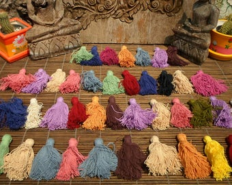 Cotton Tassels Set Of 50 Pieces Assorted Colors