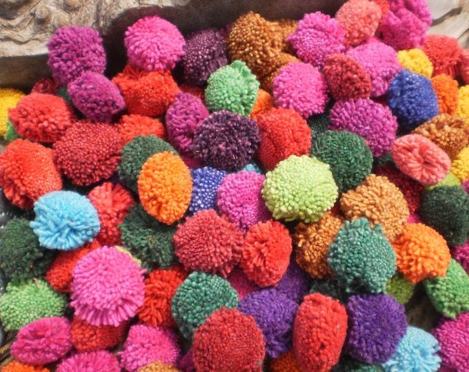 PomPoms, Set of 50 Pompoms, Hmong decoration,  Mixed Color Pompoms, Tribal Supply, Folk Art Supply, Jewelry Supply