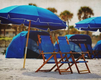 Blue Beach Chairs Umbrella Photo, Beach House Photography, Clearwater Ocean Florida Travel Art, Tropical Coastal Decor, Nautical Home Decor