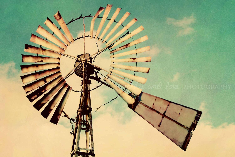 Vintage Windmill Photo Rustic Farmhouse Photography Aqua | Etsy