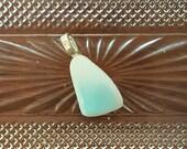 Ripple Blue Pyrex Jewelry Pendant,aka Turquoise Crinoline,Teardrop,Unique Upcycle Recycle broken Vintage 1950 Hazel-Atlas, PyrexJewelry P397