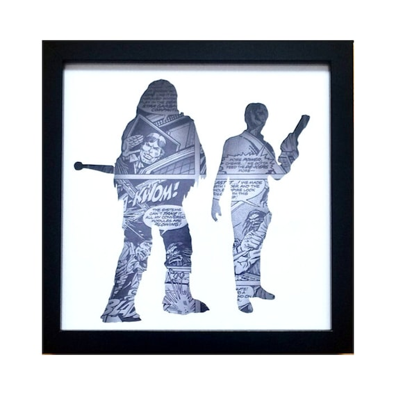 Star Wars Han Solo & Chewbacca Silhouette Wall Art- Fathers Day Gift Present
