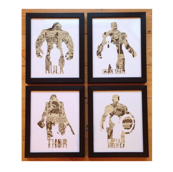 Avengers - Ironman, Thor, Captain America & Hulk Retro Character Silhouette Wall Art Set- Fathers Day Gift Present
