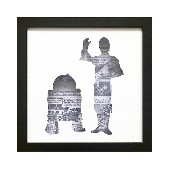 Star Wars R2D2 & C3PO Silhouette Wall Art- Fathers Day Gift Present