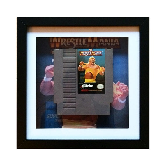 Wrestlemania NTSC NES Game Cart Framed Wall Art- Fathers Day Gift Present