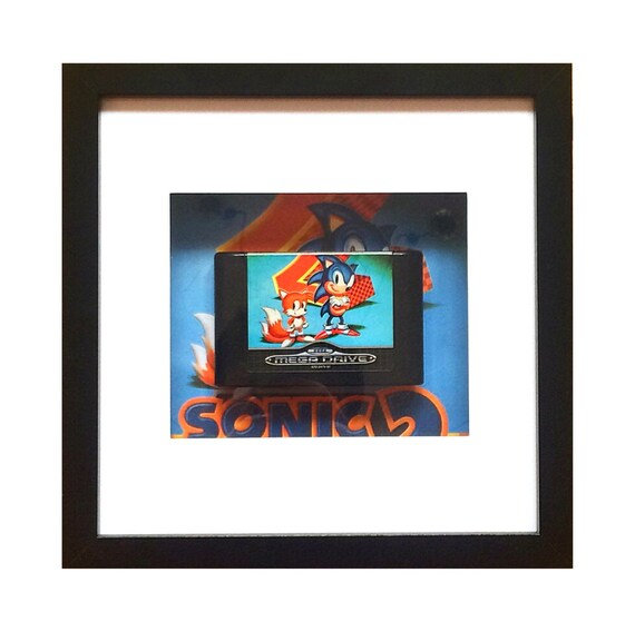 Megadrive Sonic the Hedgehog 2 Game Framed Wall Art- Fathers Day Gift Present