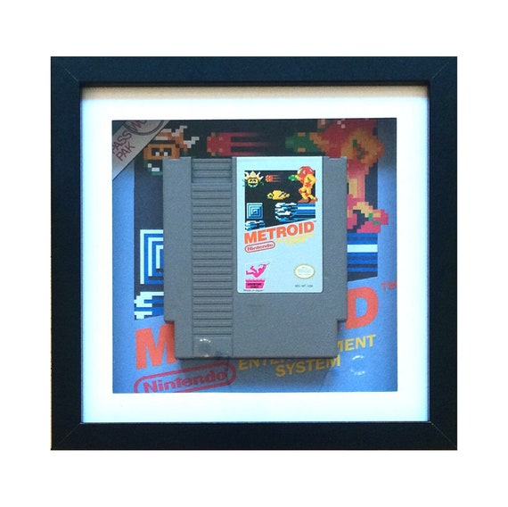 Metroid NTSC NES Game Cart Framed Wall Art- Fathers Day Gift Present
