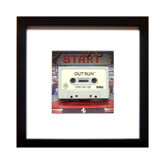 Outrun Game C64 Cassette Framed Wall Art