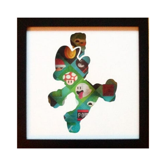 Super Mario Silhouette Wall Art- Fathers Day Gift Present