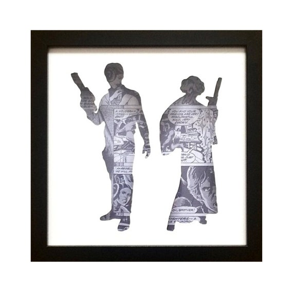 Star Wars Han Solo & Princess Leia Silhouette Wall Art- Fathers Day Gift Present