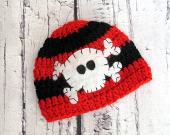 Red and Black Skull and Bones Hat with Felt Appliqué