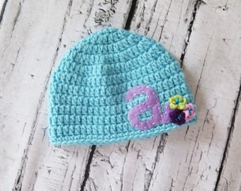 Custom Monogramed Crocheted Girl Hat with Felt Initial sizes Newborn baby to Child Photo Prop