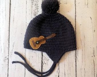 Crochet Guitar Hat, Crochet Boy Hat, Felt Guitar, Baby Shower Gift, Ear Flap Boys Hat, Hat with Ties, Guitar Baby Hat, Crochet Beanie