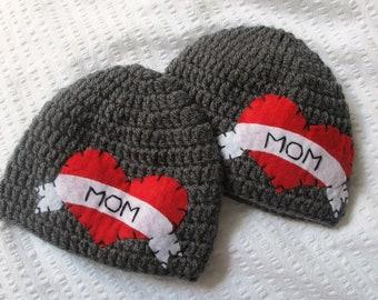 Set of 2 Tattoo I Heart Mom Hat with Felt Appliqué - 1 toddler hat and 1 big boy hat