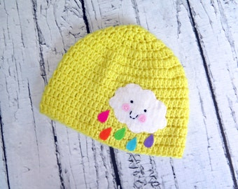 Happy Cloud Raindrop, Rainbow, Crocheted Girl Hat with Felt Applique sizes Baby to Teen