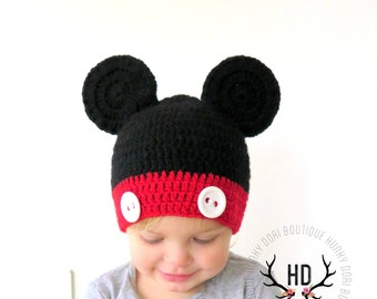 Mickey Mouse Crochet Hat | sizes Newborn to Teen