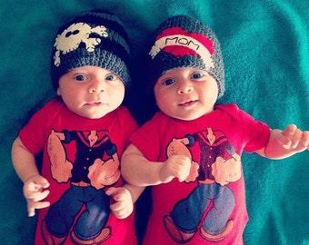 Twin Hat Set - I Heart Mom Hat & Skull and Bones Hat, Crochet Hat, Baby shower Gift, Valentines Day Hat, Halloween Hat, Baby Hat, Knit hat