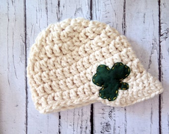 Luck of the Irish Hat, Crochet Womens hat, Shamrock Hat,  St Patricks Day Hat, St Patty's Day hat, Chunky Crochet Hat, Newsboy hat
