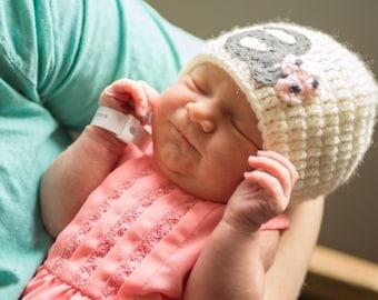 Monogram Girl Hat, Crochet Hat, Personalized Hat, Baby Girl Hat, Newborn Baby Hat, Personalize Baby Gift, Hospital Baby Hat, Newborn to Teen