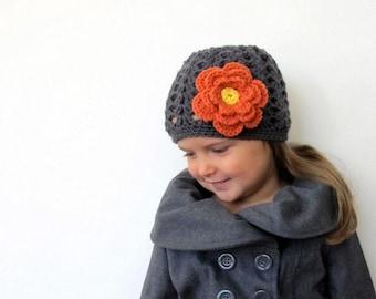 Crocheted Girls Hat, Flower Hat, Knit Girls Hat, Winter Hat, Toddler Hat, Custom Hat, Baby Beanie, Spring Hat