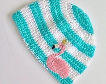 Flamingo Girl Hat, Flamingo Felt Appliqué, Crochet Hat, Flamingo Baby Hat, Winter Hat, Spring Hat, Pink Flamingo, Crochet Flamingo, Beanie
