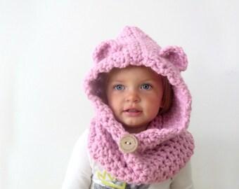 Child Hooded Bear Cowl | Crochet Hooded Cowl | Bear Cowl | Bear Hat
