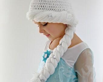 Elsa Snow Queen Crochet hat wig for Winter or Costume sizes 6m to Teen | Girl Halloween Hat | Elsa Halloween Hat
