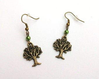 Trees, Wiccan, nature, goth earrings