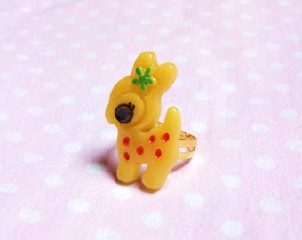 Ring yellow Bambi, Fawn, deer, flower, lolita, kawaii