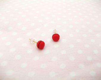 Pinback buttons, red Strawberry Stud Earrings