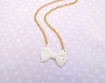 White bow, rhinestone, girly necklace