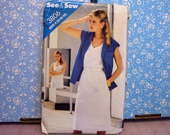 Dress and shirt pattern, Butterick # 3806, uncut pattern, women's dress pattern
