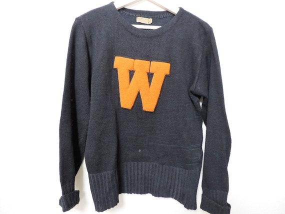Vintage Letterman Sweater Black and Orange