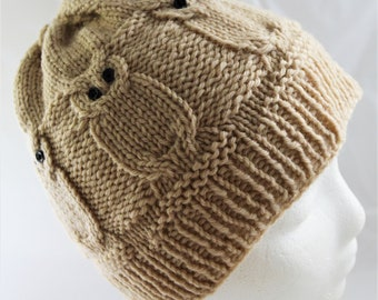 Cabled Owl Hat for Teens and Women, Ready To Ship, Hand Knit, Birder Beanie