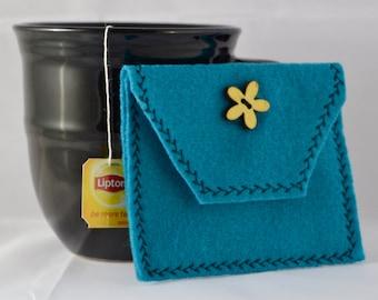 Teal Tea Tote, Reusable Tea Pouch, Tea Bag Carrier, Tea Wallet,  Felt Envelope, Tea Bag Pouch, Tea Accessory