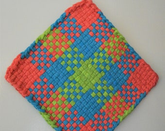 """Large Loom Woven Potholder, Plaid Hot Pad with Loop for Hanging, 8"""" Square Trivet, Thick Cotton Loops"""