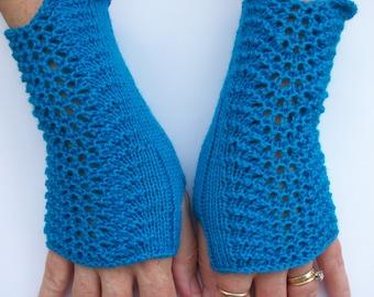 Fingerless Gloves, Ladies Fingerless Mitts, Arm Warmers, Wrist Warmers, Ladies Lace Gloves, Blue Lacey Gloves, Teen Gloves