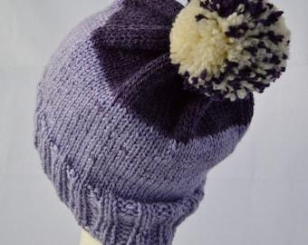 Knit Purple PomPom Hat, Striped Beanie, Hat with Pompom, Purple Watch Cap, Ready to Ship