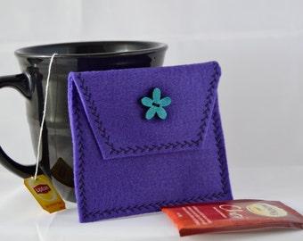 Purple Tea Bag Carrier, Purple Tea Tote, Reusable Tea Pouch, Felt Tea Wallet, Tea Accessory