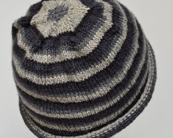 Knit Striped Wool Hat sized for Teens and Women, Rolled Brim Beanie, Gray Striped Beanie, Boyfriend Hat, Hand Knit, Ready to Ship