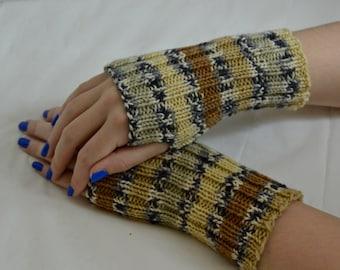 Striped Fingerless Gloves, Hand Knit Fingerless Mittens, Teen & Adult Hand Warmers, Unisex,