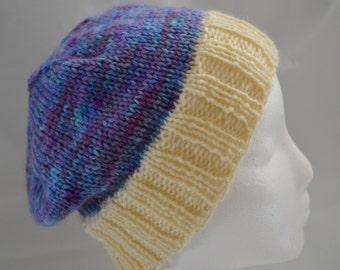 Hand Dyed, Hand Knit OOAK Hat, Slouchy Child's Beanie, Teen's Purple Hat, Warm Winter Hat, Ski Hat, Snowboarding Hat, Hand Knit