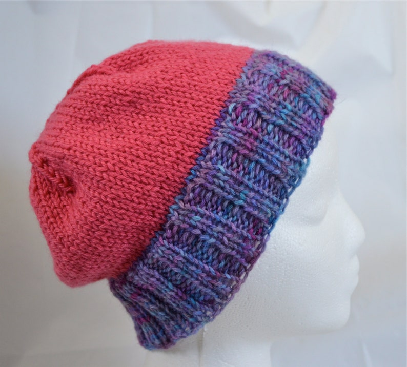 eed1e5dcc15a69 Slouchy Knit Beanie Teen Hat Pink Beanie Purple Hat Hand | Etsy