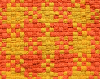 """Sunny Yellow and Orange Hot Pad, Large Woven Trivet, 8"""" Retro Potholder, Professional Size, Made with 100% Cotton Loops"""