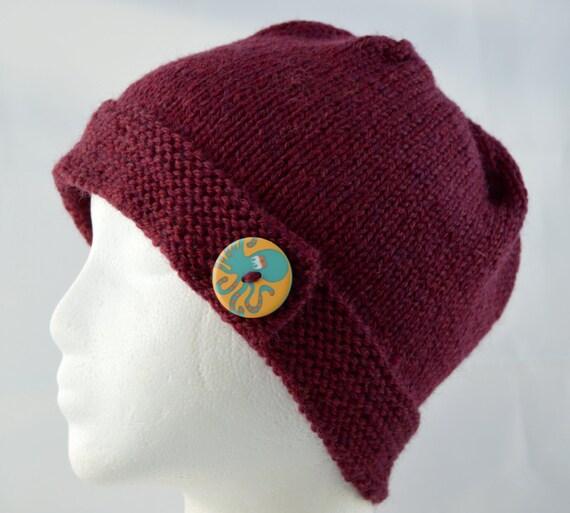 b557983777d Octopus Button Brim Hat Hand Knit Beanie Knitted Winter Hat